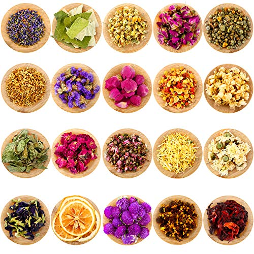 20 Packs Dried Flower Herbs Dried Flowers for Soap Making, Rosebuds, Lavender, Chrysanthemum and More for Candle, Resin Jewelry, Soap Making, Bath, Nail Lip Gloss Making