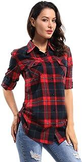 OCHENTA Women's Regular Fit Roll-Up Sleeve Button Down Plaid Shirt
