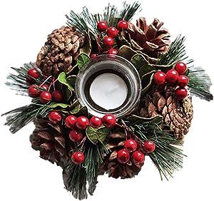 sdgfd Guirlande de Noël décorée, Couronne de déco Couronne de l'Avent, Couronne de Noël Ronde, Couronne de décoration de Noël, Pommes de pin