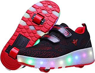 e2b9c2e0d30a0 AIkuass Double Roller Shoes LED Light Up Skate Shoes for Girls Boys Kids  with Wheels