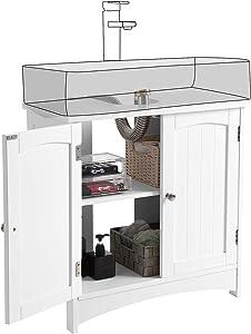 VASAGLE Meuble sous lavabo Armoire de Rangement Meuble de Salle de Bain 2 Portes battantes 2 casiers 1 séparateur Amovible Anti-humidité 60 x 30 x 60 cm Blanc BBC01WT