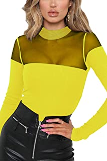 b10ebdd91c Meyeeka Women s Sexy High Neck Mesh Top Long Sleeve Ribbed Knit Leotard  Bodysuit