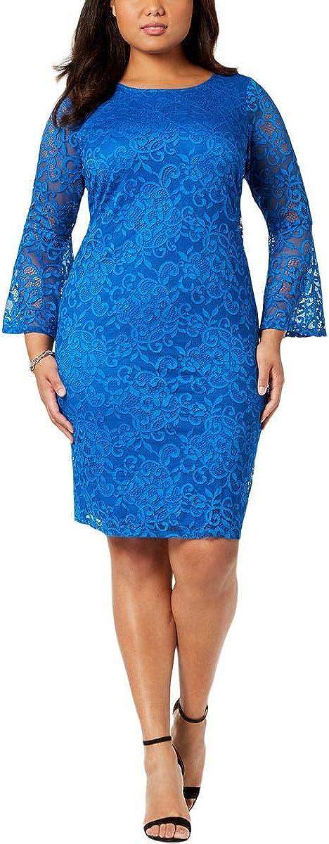Alfani Womens Plus Bell Direct stock discount Party Knee-Length Philadelphia Mall Sleeves Dress
