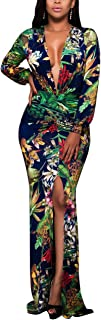 Women's Sexy Long Maxi Dresses Tropical Bodycon V Neck Short Sleeve Floor Length Party Mermaid Clubwear