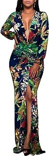 Women's Sexy Long Maxi Dresses Tropical Bodycon V Neck Short Sleeve Floor Length Party Mermaid Clubwear