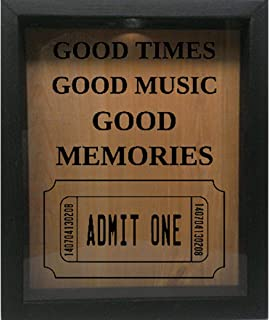 Wooden Shadow Box Wine Cork/Bottle Cap/Tickets 9x11 - Good Times Good Music Good Memories (Ebony w/Black)