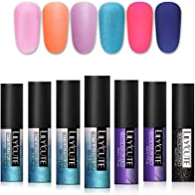 LILYCUTE Matte Gel Nail Polish Glitter Pearl Nail Art Gel Varnish Soak Off UV Gel Manicure 5ml 6 Colors with Matte Top Coat
