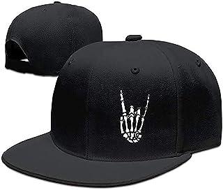 Rock N Roll Skeleton Hand Baseball Cap for Men Flat Bill Snapback Trucker Hats for Dad and Women Cotton Adjustable Black