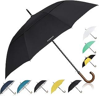 ZEKAR Wooden J-Handle Umbrella, 54/62 / 68 inch, Classic and UV-Protection Versions, Large Windproof Stick Umbrella, Auto ...