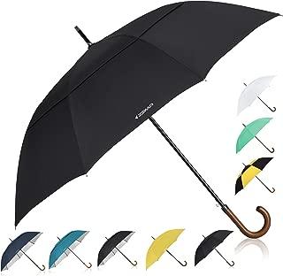 Wooden J-Handle Umbrella, 54/62 / 68 inch, Classic and UV-Protection Versions, Large Windproof Stick Umbrella, Auto Open Men Women Golf Umbrella