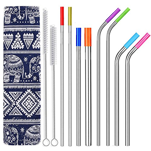 ALINK Stainless Steel Metal Straws - 6mm Wide for Yeti, RTIC, Starbucks Jars, Mason Tumblers, 8mm for Smoothies, Milkshakes, 12mm for Boba Tea, Set of 8 with 8 Soft Silicone Tips & 2 Cleaning Brushes