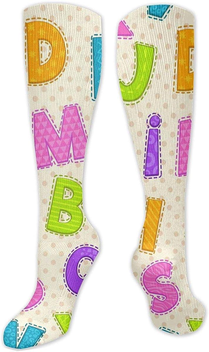 Cute Alphabet Knee High Socks Leg Warmer Dresses Long Boot Stockings For Womens Cosplay Daily Wear