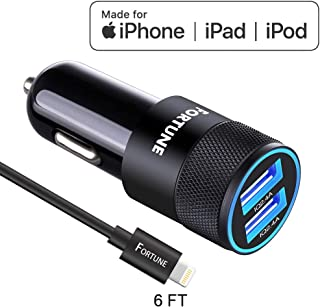 iPhone Car Charger, Car Charger Adapter iPhone, Car Charger iPhone with 24W 4.8A Dual 5V/2.4A Port & 6 Feet Certified Charging Cable Compatible with XR XS Max X 8 7 6S 6 Plus 5 SE 5S 5 5C Mini 2 3 4
