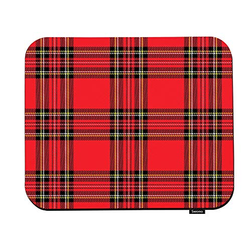 Swono Red and Black Plaid Mouse Pads Traditional Scottish Checkered Tartan Pattern Mouse Pad for Laptop Funny Non-Slip Gaming Mouse Pad for Office Home Travel Mouse Mat 7.9'X9.5'