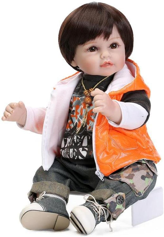 QXMEI 22-Zoll Reborn Babypuppe Silikonpuppe Puppe Mock Junge Kreatives Geschenk 55 cm