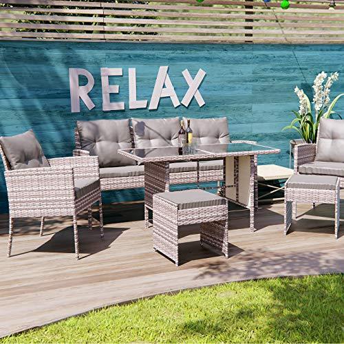 Swing & Harmonie Polyrattan Sitzgruppe Esstisch Lounge Sitzgarnitur Essgruppe Gartenmöbel Set (grau)