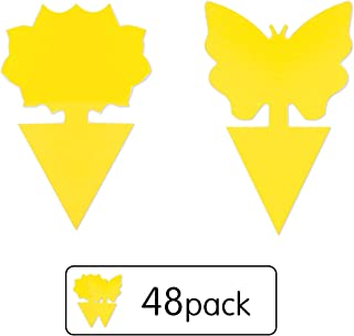 Stingmon 48 Pack Sticky Fruit Fly Fungus Gnat Trap Killer for Indoor and Outdoor Protect The Plant, Non-Toxic and Odorless, A2
