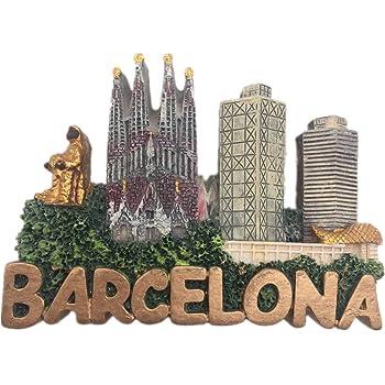 Weekinglo Souvenir Imán de Nevera Barcelona España 3D Resina Artesanía Hecha A Mano Turista Viaje Ciudad Recuerdo Colección Carta Refrigerador Etiqueta: Amazon.es: Hogar