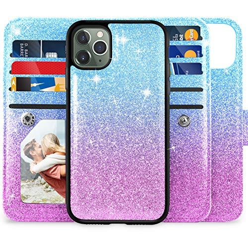 "iPhone 11 Pro Max Wallet Case, Miss Arts Detachable Magnetic Slim Case with Car Mount Holder, 9 Card/Cash Slots, Magnet Clip, PU Leather Cover for Apple iPhone 11 Pro Max 6.5"" -Purple/Blue"