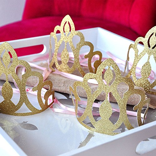 Pink and Gold Birthday Party Decoration. Princess Crowns as Party Favors Set of 5.