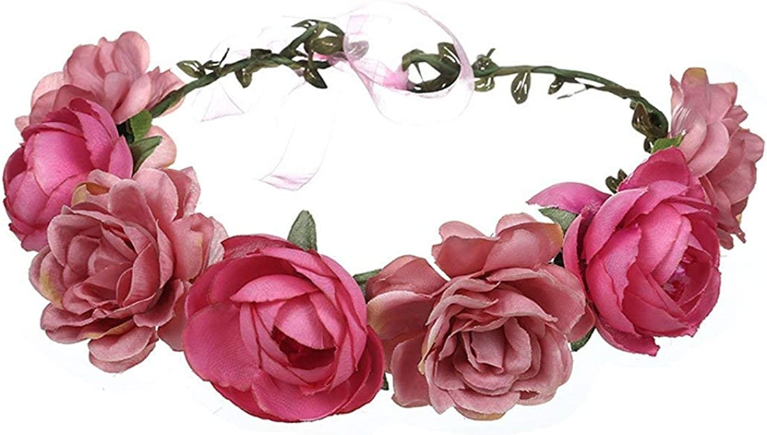Free Shipping New Women Rose Floral Crown Hair Wreath Leave Flower with A Max 88% OFF Headband