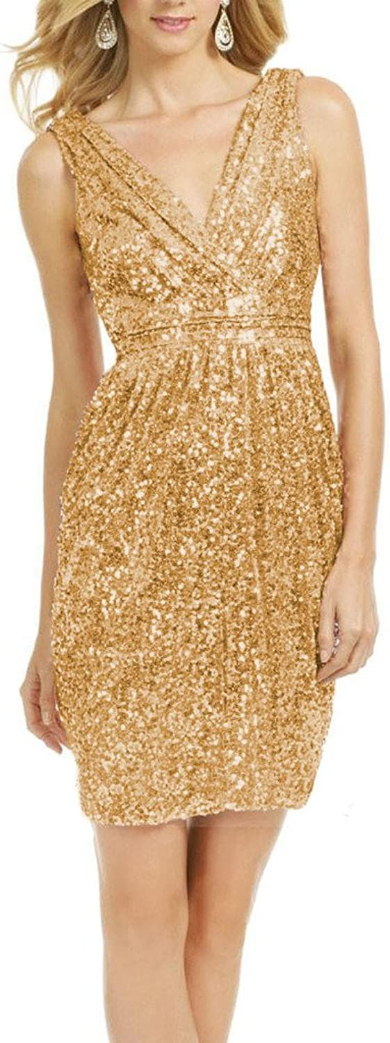 Cdress Sparkly Sequins Short Sheath Bridesmaid Dresses Wedding Prom Party Gowns