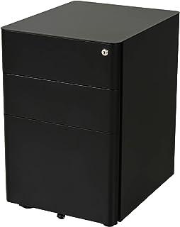 Caisson de bureau rangement bureau sur roulettes 3 tiroirs coulissants verrouillables trieur à dossiers dim. 39L x 48I x 5...