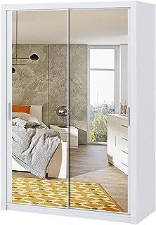 Selsey Rinker - Garde-Robe Portes coulissantes - Blanc - 150 cm - avec Miroir