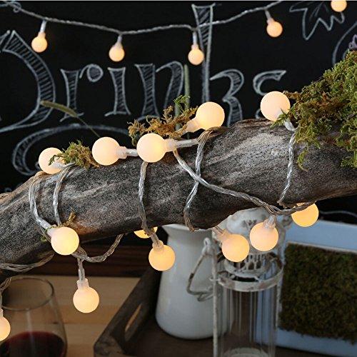 Lumière LED Chaîne Blanc Boule Plastique Modélisation Lumière Chaîne Chaud Intérieur/Extérieur Led Lampes de fée Lumière Décorative de Corde pour le Patio, le Bistro, la Chambre 4 Mètres, 40 LED