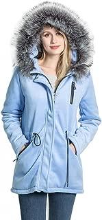 KENGURU COVE 女士羊毛混纺外套温暖冬季可拆毛领连帽外套夹克