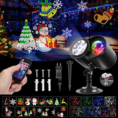 Proiettore Luci Natale LED Natalizia, SGODDE 14 Modelli a LED Light Luce per Proiettore con 10 Motivo a Onde d'Acqua con Telecomando, Timer 2/4/6 Ora Halloween Luci proiettore LED Impermeabile IP65