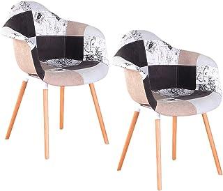 3327 Juego de 2 sillas clásicas estilo retro con asiento acolchado y reposabrazos (gris)