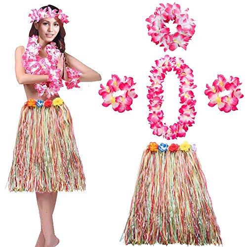 LONGBLE Hawaii-Set, Bunt Hawaii Rock mit Blumengürtel, Blumenkette, Stirnband und 2X Armbänder, 5-TLG Accessoire Set für Damen Mädchen Bastrock Hawaii Party Mottoparty Karneval Helloween Dekoration