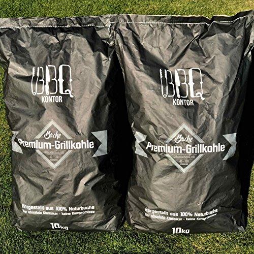 BBQKontor 20kg (2x10kg) Premium Buchenholzkohle - 100% Naturbuche - Grillkohle Holzkohle Buche Buchengrillholzkohle in Steakhausqualität