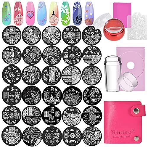 Biutee 30 pcs Nail Art Stamping Plate Stamping Plaques Nail Art Pochoir à Ongles Feuilles/Fleurs/Animal/LOVE