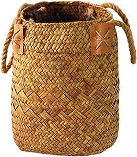 DFBGL Panier de Rangement en Osier Boîte de Rangement en rotin tissé, Vase à Fleurs en jonc de mer, jardinière Suspendue, ...