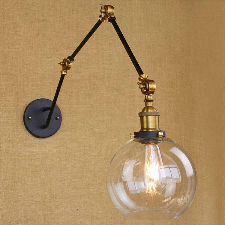 BYDXZ   Wandleuchte Globus mit verstellbarem 3-Arm Schwenkarm Mini Wandleuchte Classic Vintage mit Klarglas