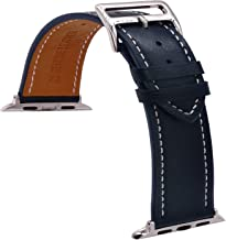 TIME4BEST Leather Watch Band Strap Compatible with iWatch Band 42mm 44mm (Navy Blue)