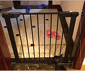 Walk Thru Baby Safety Gates For Stairs Self Closing Free Perforated Door Stairway Fireplace Fence Anti-pet Isolation Door Indoor Railing Pressure Mount Color High90cm width Size 131-138cm