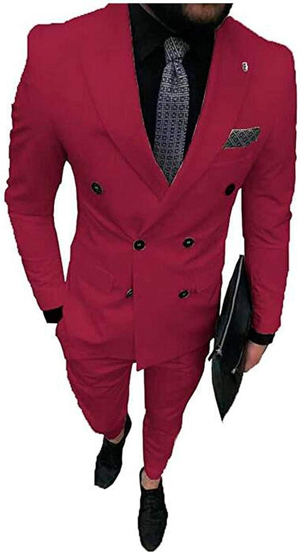MiBotong 2 PC Regular Fit Men's Suits Notch Lapel Jacket Vest Pants Business Suit Groom Tuxedos Wedding Suit