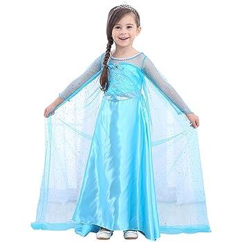 URAQT Disfraz de Princesa Frozen Elsa, Traje de Princesa de la ...