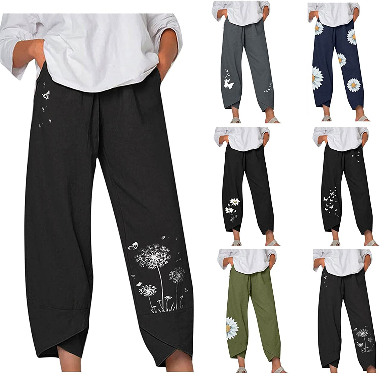 Smooto Women's Linen Pants Elastic Waist Casual Cropped Pants with Pockets