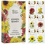 Sonnenblumen Samen Set: Premium Sonnenblumen Saatgut mit 6 Sorten schöner Sommerblumen Samen - Garten Geschenk Anzuchtset -...