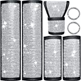 7 Piece Crystal Diamond Car Accessories Bling Seat Belt Covers Rhinestone Door Handle Cover Crystal Auto Shift Gear Cover Handbrake Cover Starter Ring Emblem Sticker for Car Decor Accessory (White)