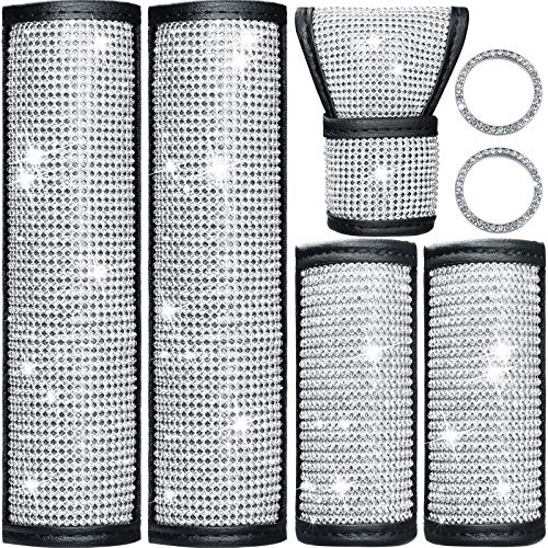 7 Pieces Crystal Diamond Car Accessories Bling Seat Belt Covers Rhinestones Door Handle Cover Crystal Auto Shift Gear Cover Handbrake Cover Starter Ring Emblem Sticker for Car Decor Accessory Kentucky
