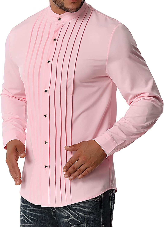 CofeeMO Bravetoshop Men's Henley Shirts Long Sleeve Slim Fit Button Down Shirt Cotton Casual Business Dress Shirt