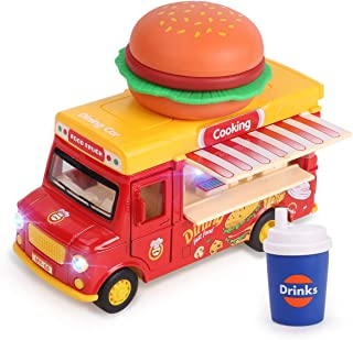 REMOKING Fast Food Car for Kids,1:36 Scaled Pull Back Dining Truck with Sensor,Sounds,Lights for Boys and Girls Aged 3+