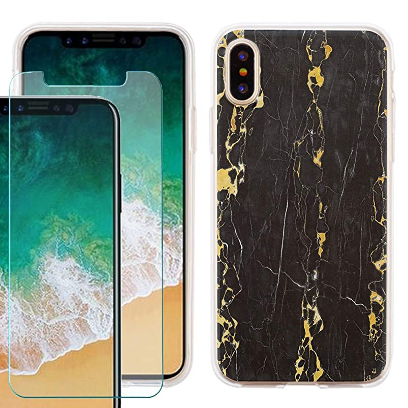 Phone Case for Apple iPhone Xs/X, Slim-Fit TPU Case with Tempered Glass Screen Protector, by One Tough Shield - Marble/Gold/Black grtnaydk342275
