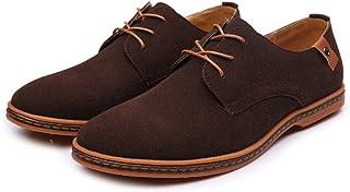 革靴 メンズ ローファー カジュアルシューズ レースアップ オックスフォードシューズ マイクロファイバー レザー ラージサイズ (Color : Coffee, サイズ : CN28.5)