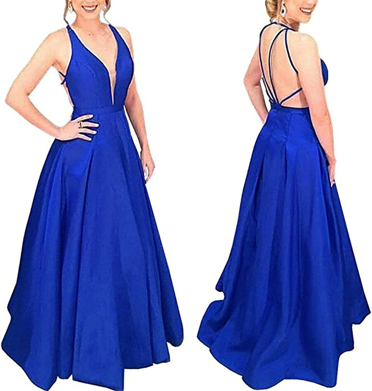 Staypretty Deep V neck Backless Prom Dress Satin Long Plus Women Aline Evening Dress